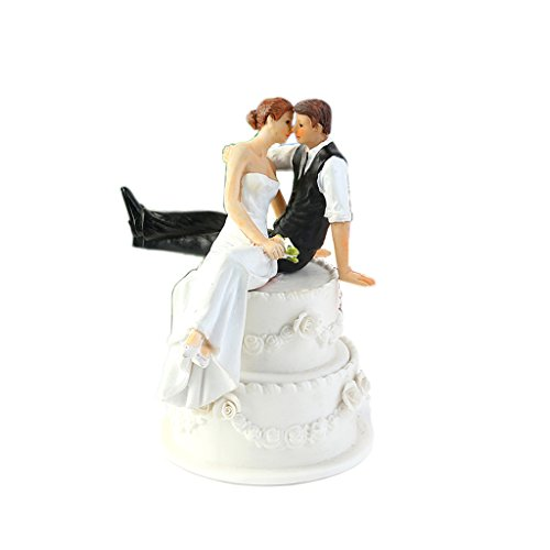WeddingDepot Funny Bride and Groom Decorative Wedding Cake Toppers - Cake Topper Figurines, Keepsake Wedding Cake Decorations in Unique Pose (Bride and Groom on Cake)