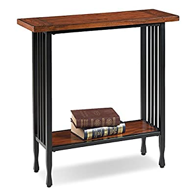 Leick 11232 Ironcraft Hall Stand - Blackened metal mission slats and legs with cinched metal toe design Hand applied Burnished medium oak finish Compact scale suitable for apartments/condos - living-room-furniture, living-room, console-tables - 41WfAHtShQL. SS400  -