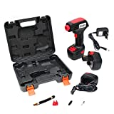Air Compressor Electric Cordless Portable Tire Inflator Hand Held Pump with Digital LCD Rechargeable Li-ion 12V 100PSI 1500mAh and Tool Box for Car