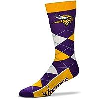 De los hombres NFL Minnesota Vikings Argyle calcetines con Vikings en la parte inferior