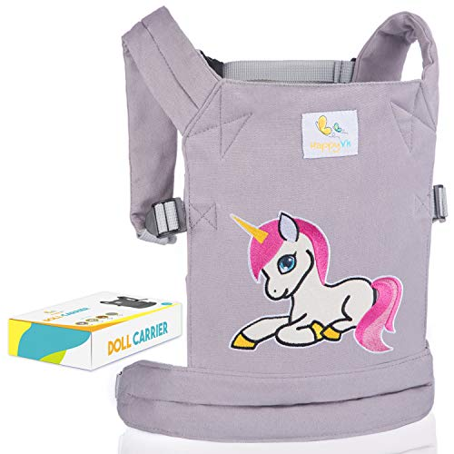 Doll Accessories Reborn (HappyVk- Baby Doll Carrier for Kids- with Cute Unicorn Embroidery. Fits Dolls or Stuffed Animals up to 24 inches, Front and Back (as Backpack Carrier) Positions Wearing)