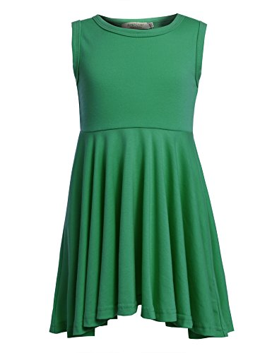 Arshiner Little Girls Sleeveless Casual Ruffle Dress Green 130(Age for 9-10Y)