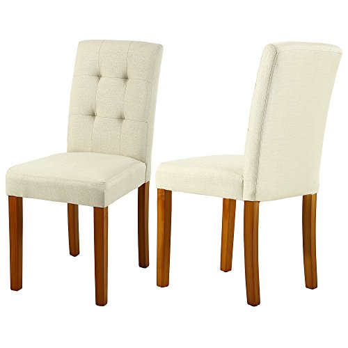 Cheap LSSBOUGHT Upholstered Dining Chair Parson Dining Chair with Solid Wood Legs, Set of 2 (Beige)