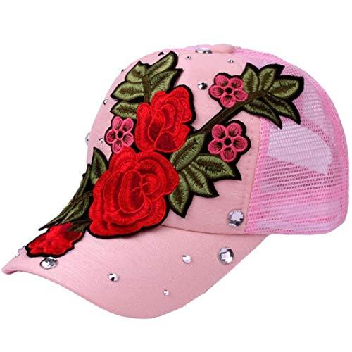 PIKAqiu33 Women Adjustable Flower Rose Rhinestone Denim Classic Baseball Cap (Pink)