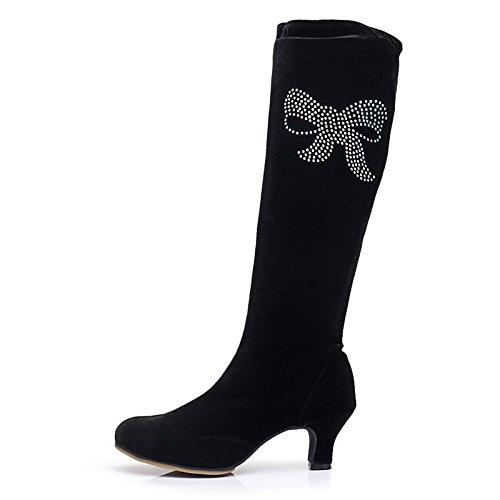 Velvet punta ginocchio caduta cubano elastan pompa donna base della tonda alti Stivali tacco HSXZ stivali moda inverno Scarpe di Stivali di floccaggio frizzante Black Glitter Un0Yx1Hwqz