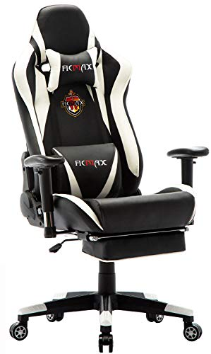 Ficmax Massage Gaming Chair Reclining Racing Office Ergonomic Gamer Chair for Adults with Footrest High Back PU Leather Computer Chair Plus Size Video Game Chairswith Headrest and Lumbar Support