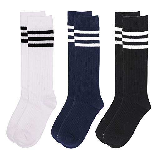 IMOZY Girls Knee High Socks- Black White and Navy Blue with Stripes Cotton Socks- 3 Pairs School Uniform Socks- Size 7-9 Years/Shoe 1-4 for Big Girls -