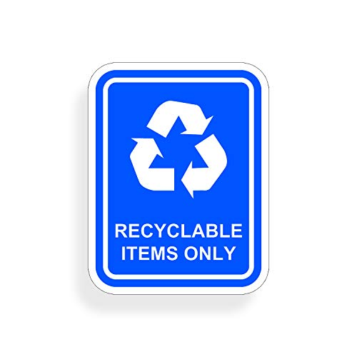 Decals Waste Recyclable - Recycling Items Only Sticker Vinyl Die Cut Recycling Decal with Recycle Logo Label Home Office Work
