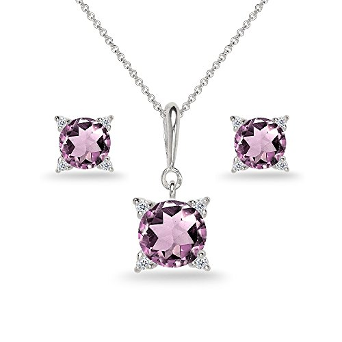 Sterling Silver Simulated Alexandrite Studded Solitaire Necklace & Stud Earrings Set