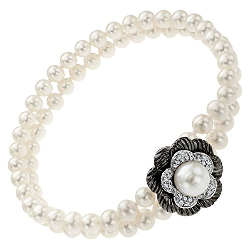 Freshwater Cultured Pearl and 1/8 ct Diamond Flower Bead Bracelet in Sterling Silver by Finecraft