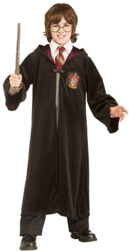 Premium Harry Potter Child's Velvet Costume Robe With Gryffindor Emblem, Medium