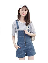 YAN Women's Summer Casual Vintage Destroyed Denim Romper Overall Short Jumpsuit Blue