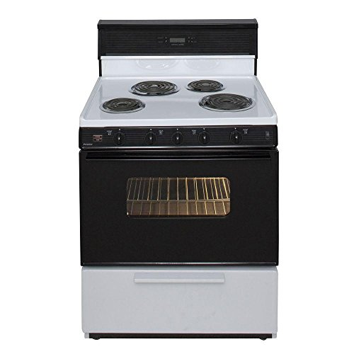 Premier EDK340WP 30'' Freestanding Electric Range with 3.91 cu. ft. Capacity 4 Burners Interior Oven Light Closed Door Broiling and Electronic Clock/ Timer in by Premier