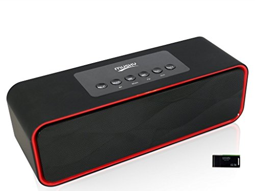 Portable Bluetooth Stereo Speaker, with 2x5W Acoustic Drivers, FM Radio, Handsfree Speakerphone, Micro SD Card, USB and AUX-In Slots for Smart Phone, Pad, MP 3 and Computer(Upgraded Version)