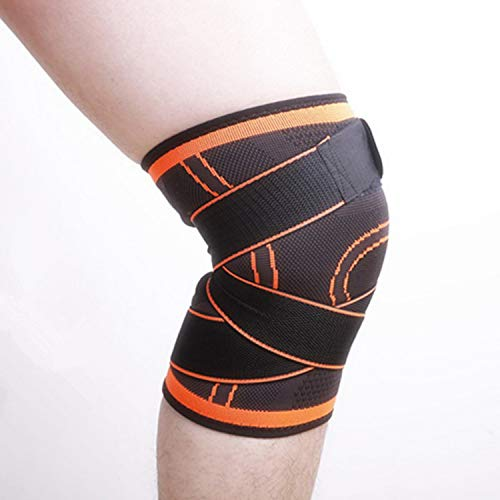 Adjustable 3D Knee Support Brace Professional Protective Pad Breathable Bandage,Orange,35-40cm