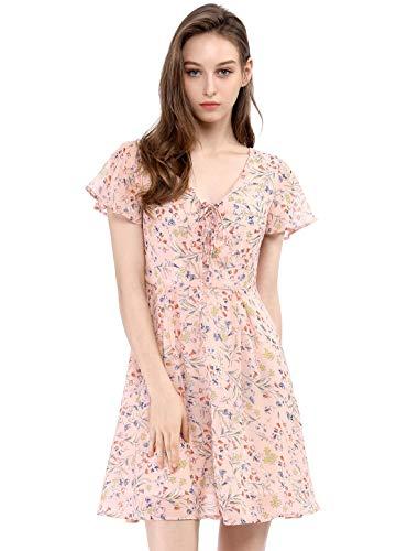 - Allegra K Women's Floral Flouncing Sleeve A-Line Lace-up V-Neck Chiffon Dress Pink S (US 6)