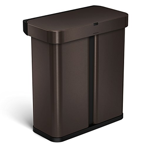 simplehuman 58 Liter / 15.3 Gallon Stainless Steel Touch-Free Dual Compartment Rectangular Kitchen Trash Can Recycler with Voice and Motion Sensor, Activated, Dark Bronze