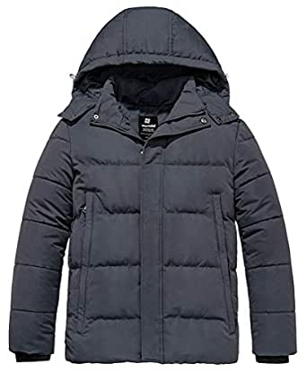 Wantdo Men's Puffer Winter Warm Quilted Jacket Outwear with Removable Hood - Gray - Small
