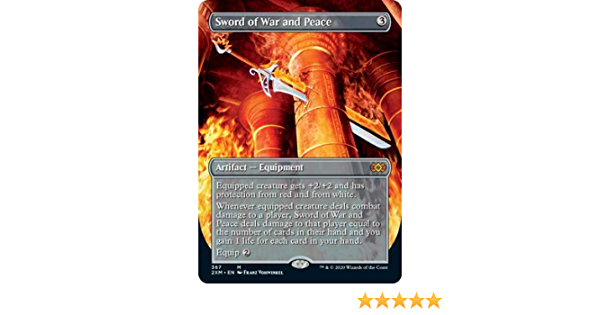borderless Foil Sword Of War And Peace M//NM Magic MTG Double Masters