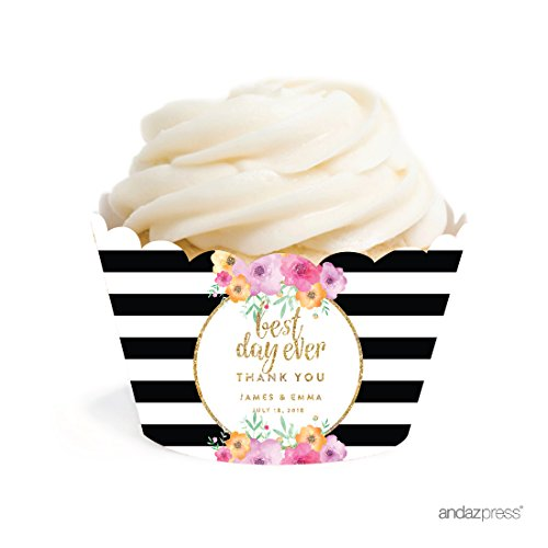 Andaz Press Floral Gold Glitter Print Wedding Collection, Personalized Cupcake Wrappers, 20-Pack