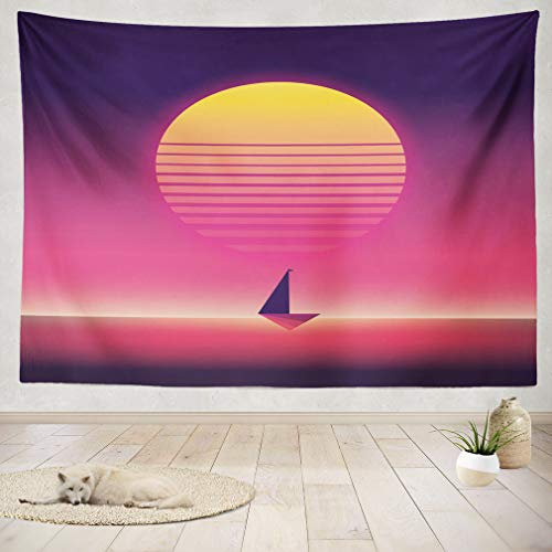 ASOCO Tapestry Wall Handing Summer Traveling and Holiday Poster with Yacht Sailing in Sunset Neon Retro Vintage Style Wall Tapestry for Bedroom Living Room Tablecloth Dorm 60X80 -