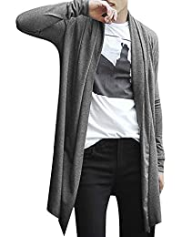 Allegra K Men Shawl Collar High-Low Hem Long Cardigan