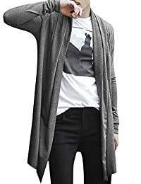 uxcell Men Shawl Collar High-Low Hem Long Cardigan