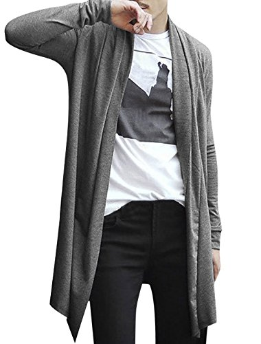 Allegra K Men Shawl Collar Open Front Asymmetric Hem Long Cardigan Gray M
