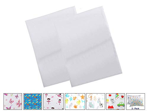BB MY BEST BUDDY Toddler Kids Pillowcase- White - Two Pack - 13x18 shrinks to fit - 100% Cotton - Envelope Style Closure - Machine Washable