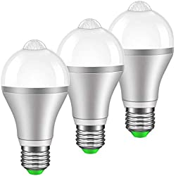 MINGER Motion Sensor Light Bulb 9W Smart PIR LED Bulbs, Cold White 6000k Auto On/Off Night Lights for Stairs, Garage, Corridor, Walkway, Yard, Hallway, Patio, Carport, E26/E27, 800lumen 3Pack