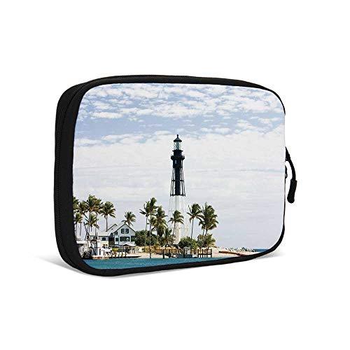 - United States Practical Data Storage Bag,Hillsboro Lighthouse Pompano Beach Florida Atlantic Ocean Palms Coast Decorative for Traveling,9.0