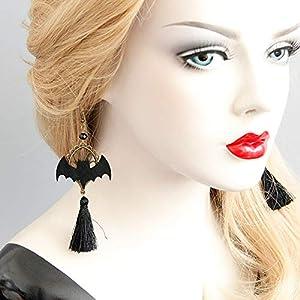 Punk Gothic Lolita Retro Jewelry Halloween Party Black Bat Tassel Earrings for Women Girl Cosplay