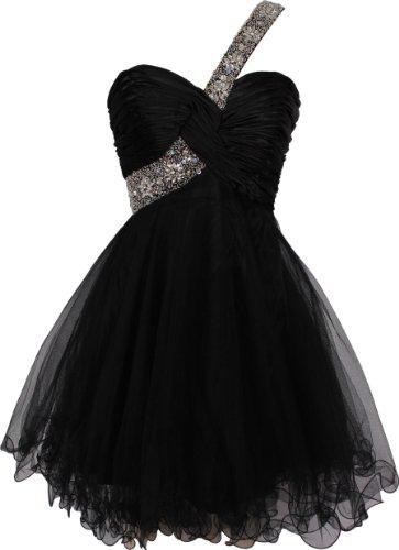 Beaded One-Shoulder Mesh Party Short Prom Homecoming Dress, Medium, Black
