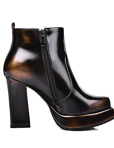 XZZ/ Damen-Stiefel-Büro / Kleid / Lässig-Leder-Blockabsatz-Absätze / Plateau / Quadratische Zehe / Modische Stiefel-Rot / Silber / Gold red-us5.5 / eu36 / uk3.5 / cn35