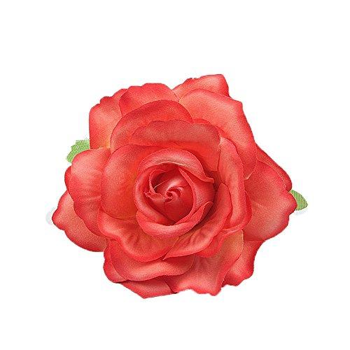 DreamLily Rose Flower Hair Clip Flamenco Dancer Pin up Flower Brooch BC10 (Orange) ()