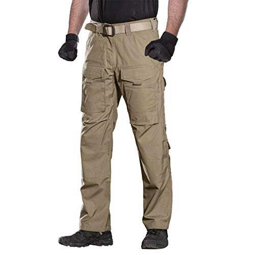 FREE SOLDIER Outdoor Men Teflon Scratch-Resistant Pants Four Seasons Hiking Climbing Tactical Trousers(Brown 38W/32L)