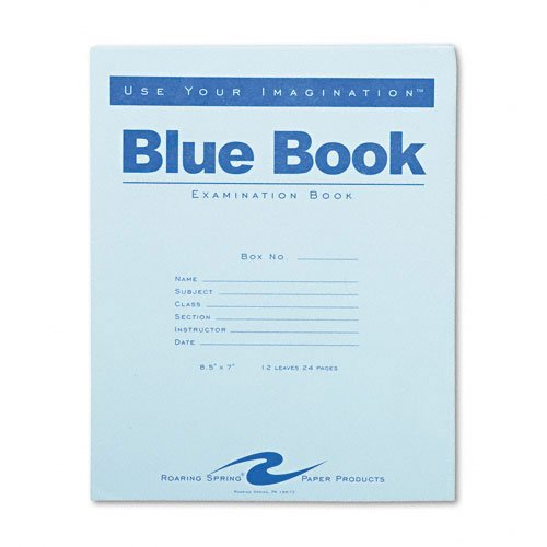 Examination Book (Roaring Spring - Exam Blue Book, Margin Rule, 8-1/2 x 7, White, 12 Sheets/Pad - Sold As 1 Each)