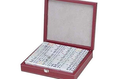 - Set of Double 12 Professional Size Dominoes in Black & Red Case