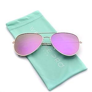 WearMe Pro - Flat Lens Mirrored Revo Metal Frame Aviator Sunglasses