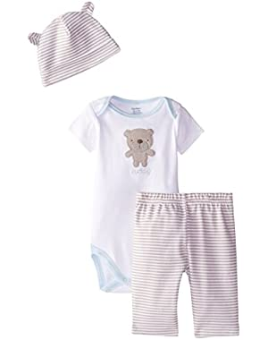 Baby Boys' 3 Piece Take Me Home Bodysuit, Legging, and Cap Set