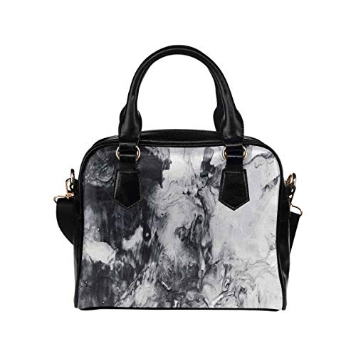 InterestPrint Abstract Hand Painted Black and White PU Leather Lady Purses and -