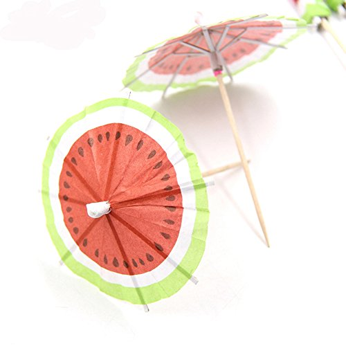 Bilipala 50 PCS Watermelon Paper Umbrellas Fruits Cocktail Dessert Parasol Picks Party Cupcake Toppers Picks Decoration by Bilipala