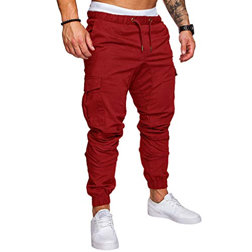 ✦◆HebeTop✦◆ Mens Athletic Workout Sweatpants Casual Trousers with Cargo Pockets Red ()