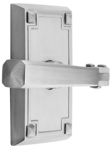 [Craftsman Style Lever Door Set With Rectangular Rosettes Left Hand Privacy In Satin Nickel. Door Hardware.] (Emtek Rectangular Rosette)