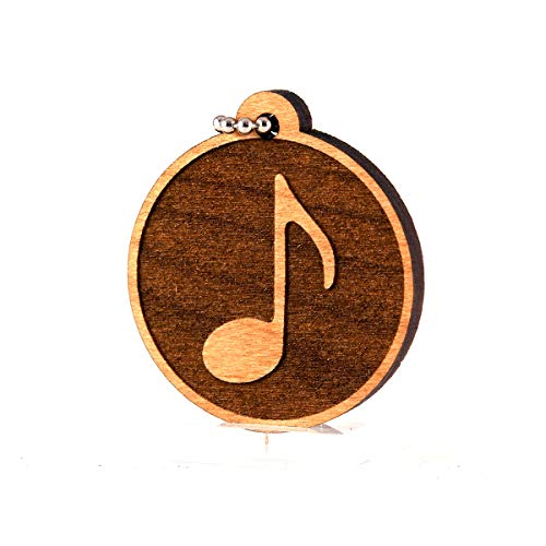 Sunset Design Lab Music Note Eighth Notes Musical Wood Laser Cut Keychain Charm Ornament ()