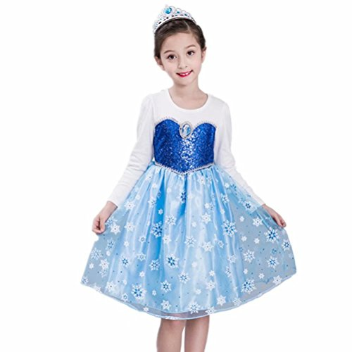 (Girls Princess Dress Up Anna Elsa Costume Sequined For Halloween Party)