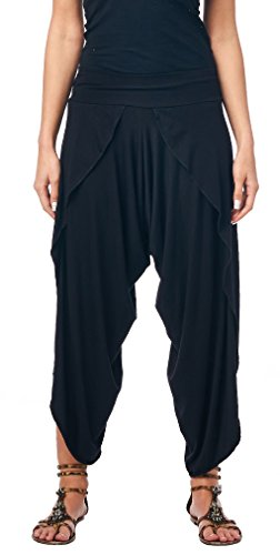 Popana Women's Casual Summer Boho Harem Jogger Pants Gaucho Culottes Made In USA Medium Black
