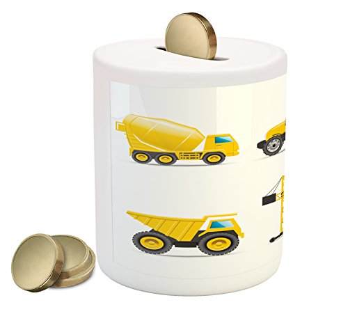 Boy's Room Piggy Bank by Lunarable, Cartoon Style Heavy Machinery Truck Crane Digger Mixer Tractor Construction, Printed Ceramic Coin Bank Money Box for Cash Saving, Yellow Grey