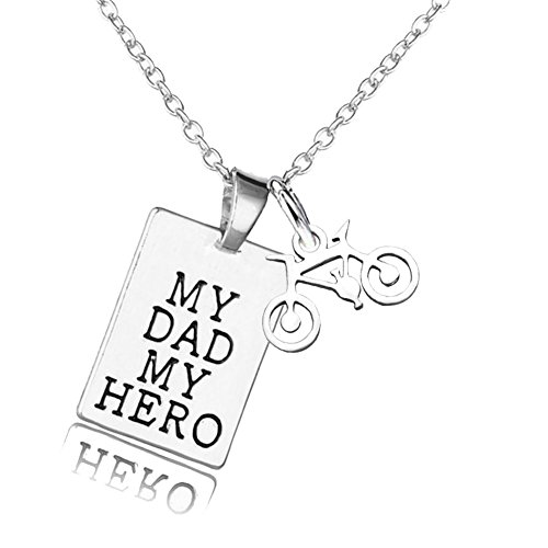 Price comparison product image Father's Day Gift My Dad My Hero My Angle Urn Necklace Bicycle Pendant for Dad