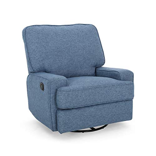 Christopher Knight Home 307571 Sibyl Glider Recliner with Swivel, Navy Blue Tweed + Black